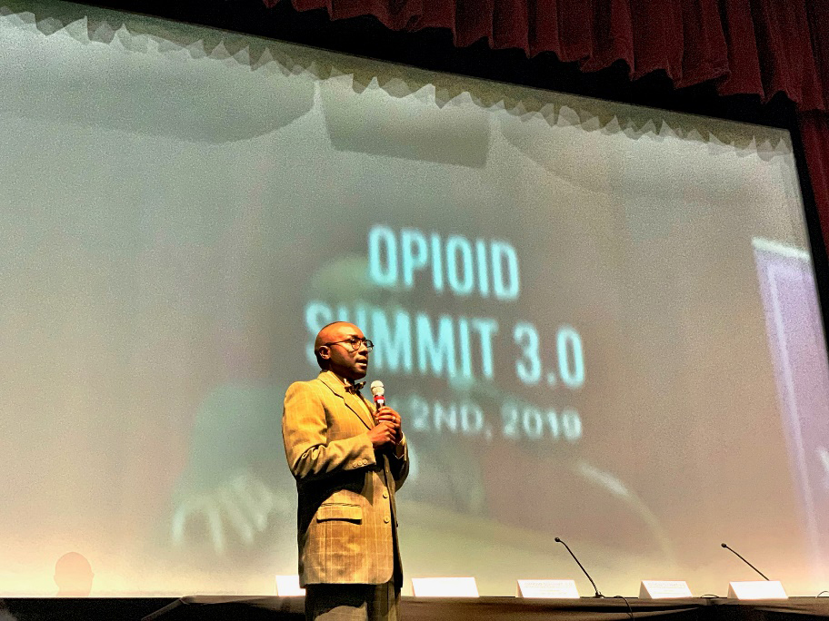 Larry Johnson, National Association of Counties Chairman of the Large Urban County Caucus, speaking during the recent opioid summit in Georgia.