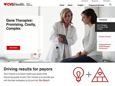 CVS Health's Payor Solutions site is a resource for clients.