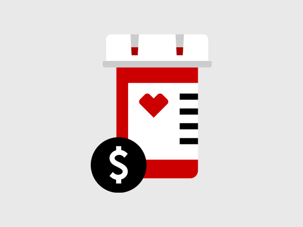 Pill bottle with dollar sign