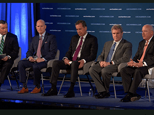 Panel Moderator Neil Bradley (U.S. Chamber of Commerce) and panelists Linden Barber (Cardinal Health), Thomas M. Moriarty, (CVS Health), Dr. Hal Paz (Aetna), Dr. Martin Rosenzweig (Optum)