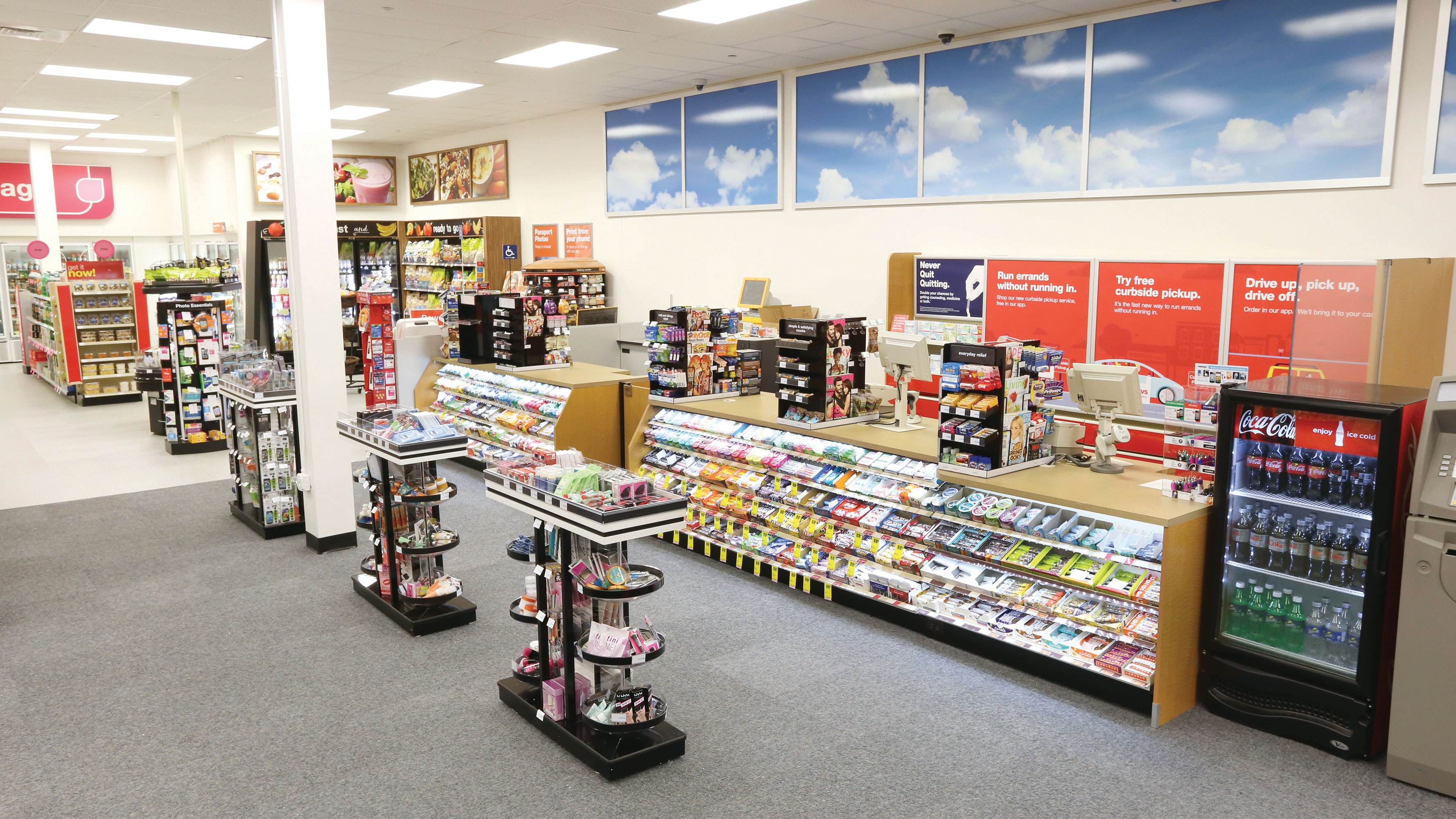 Interior of a CVS Pharmacy store near the checkout area