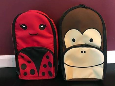 "A photo displaying Coram's ""Pediatric Pump Pals"" parenteral backpacks."