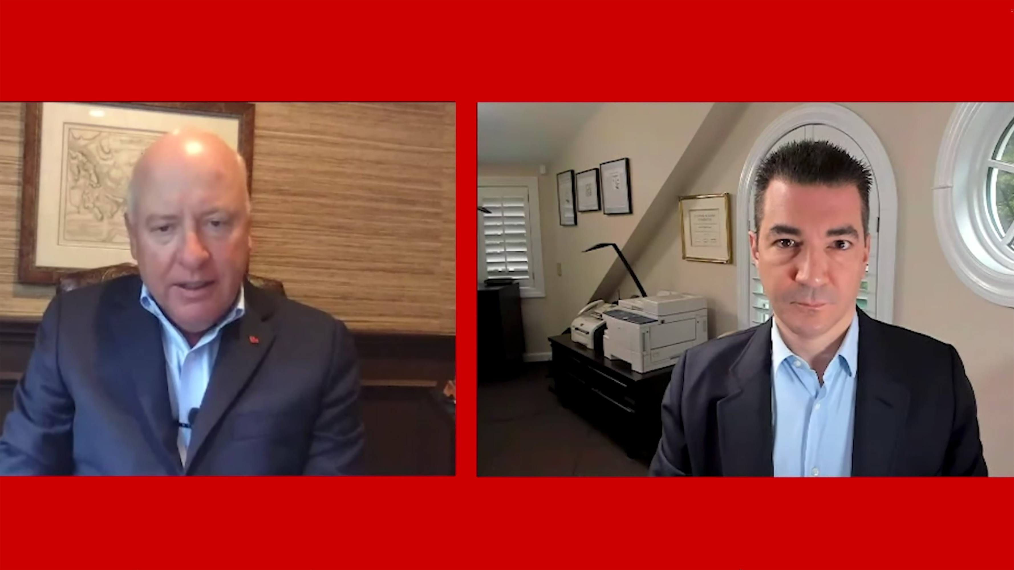 Tom Moriarty and Dr. Scott Gottlieb, on a video call together discussing the COVID-19 pandemic.