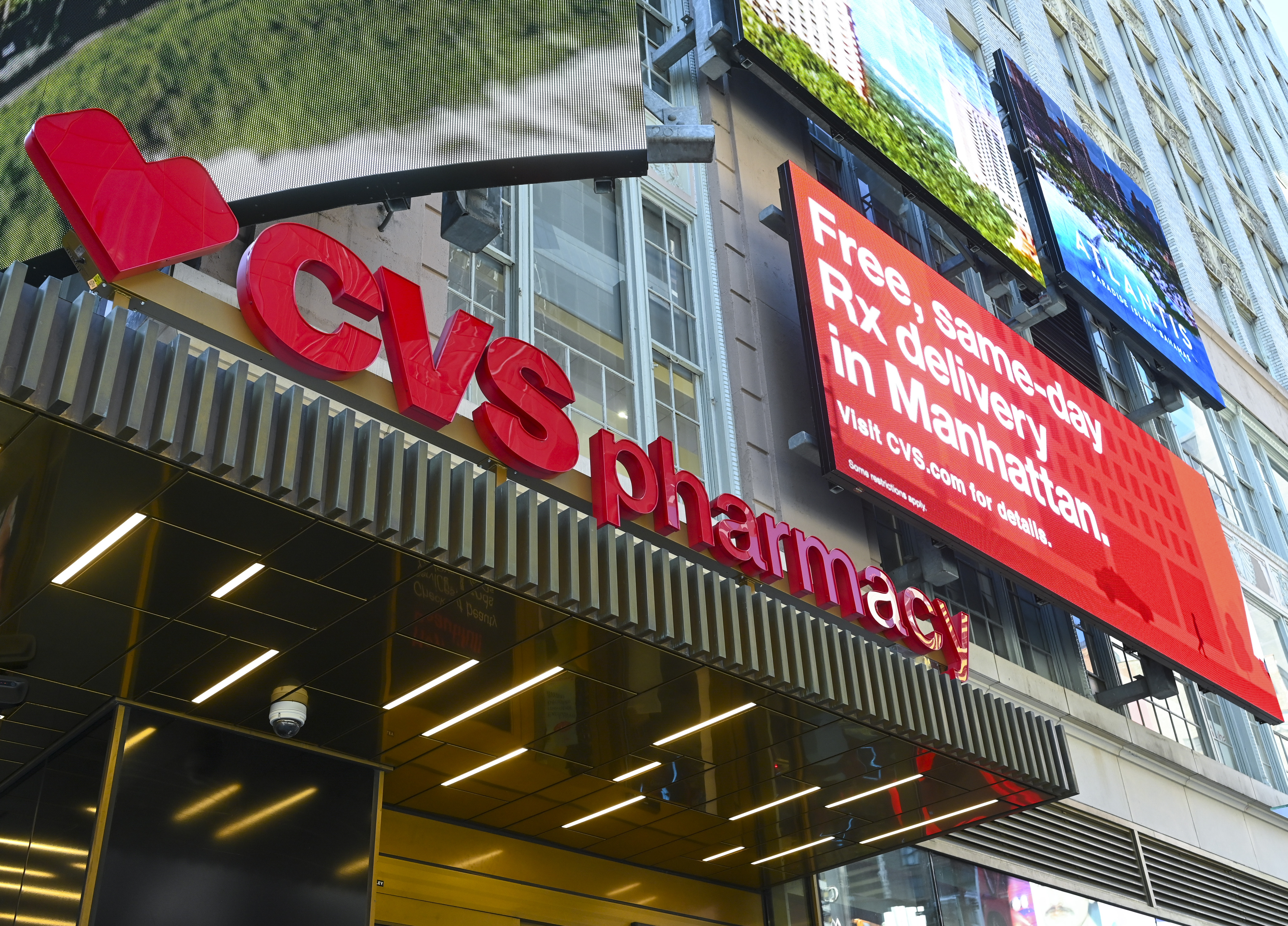 The exterior of a CVS Pharmacy in Manhattan, New York.