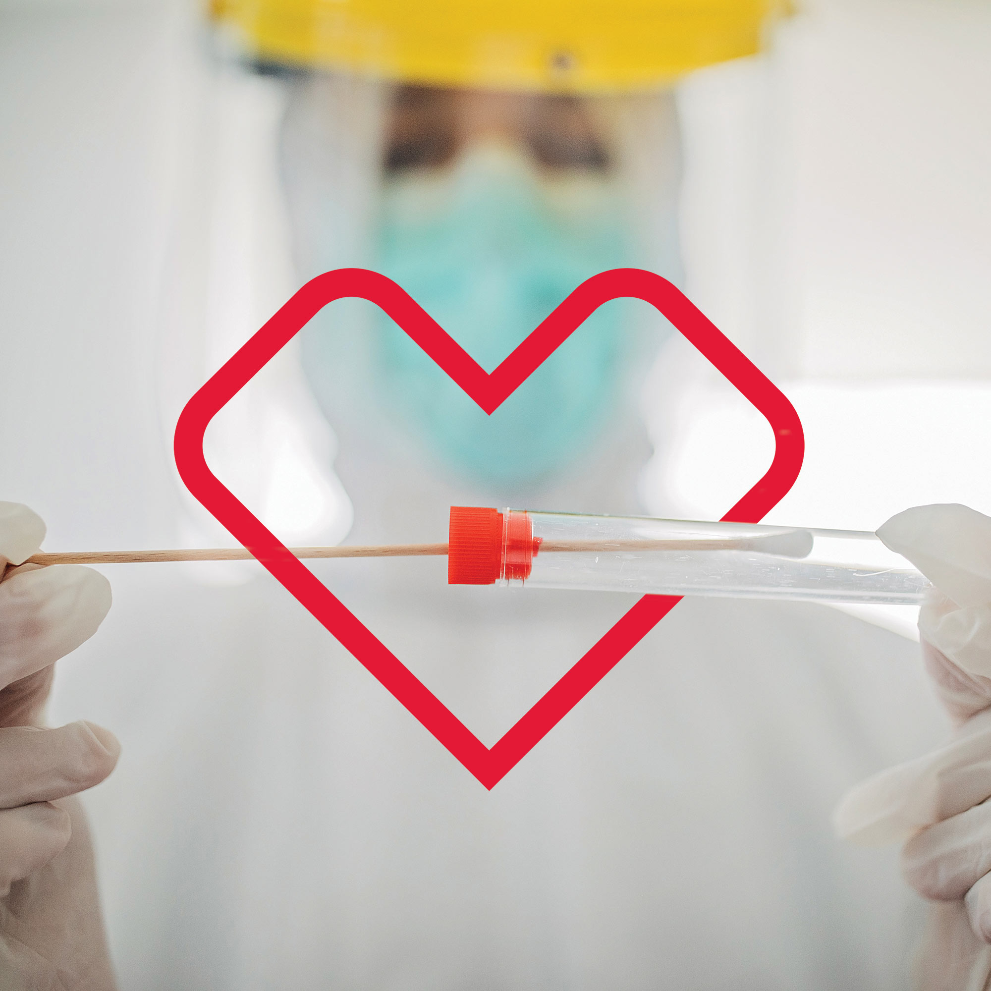 A medical professional, in full personal protective equipment (PPE), inserts a swab into a vial to be processed to test for COVID-19. The vial is surrounded by a red-colored CVS Health heart outline.