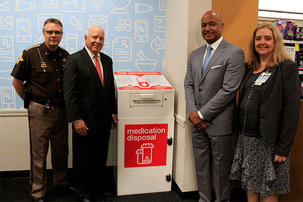 Photo of participants: Steuben County Sheriff Tim Troyer, EVP, Chief Policy and External Affairs Officer, Tom Moriarty, Indiana AG Curtis Hill, and Chief Medical Officer, Riley Children's Hospital Elaine Cox, MD
