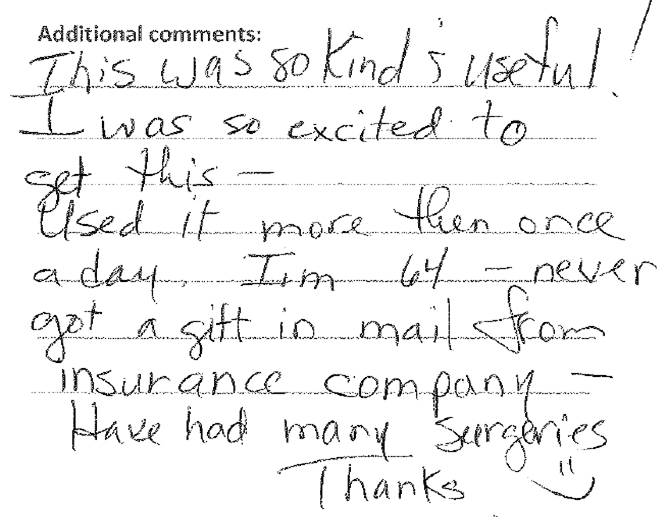 A note from a patient who took part in the Rush to Brush program.