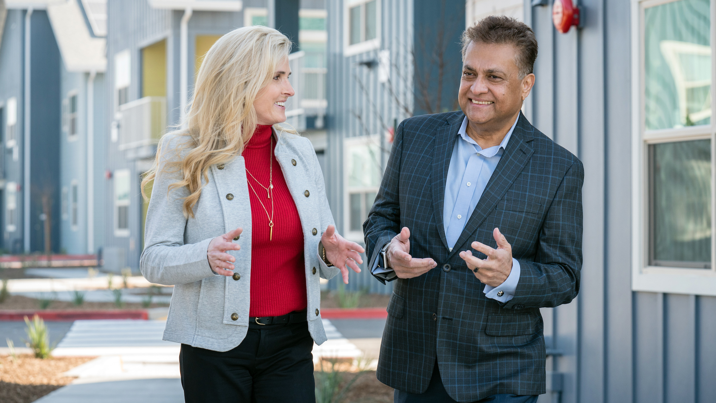 A photo of Keli Savage, Sr. Director Investment Strategy, and Chet Uma, CEO Aetna Better Health of CA., visiting Sequoia Commons for the grand opening February 14, 2020.
