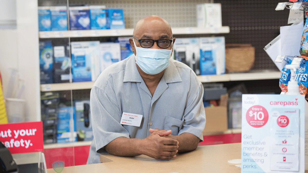 Victor Hendrix, store cashier at CVS Pharmacy.