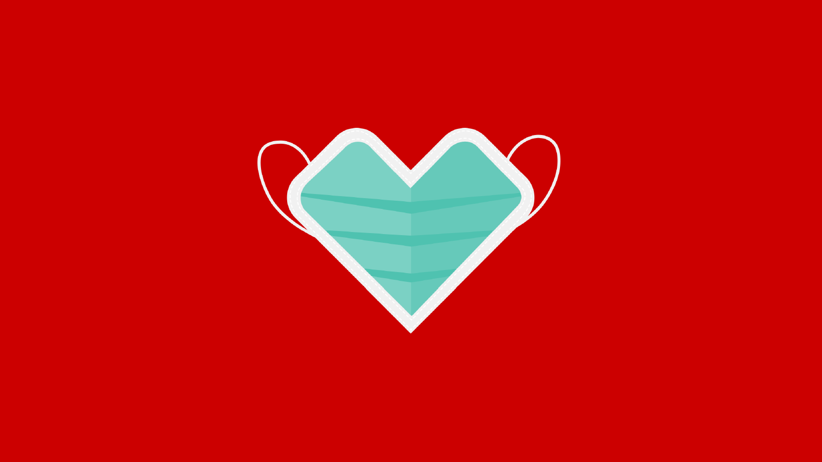 A medical face mask illustration in the shape of a CVS Health heart on a red background.