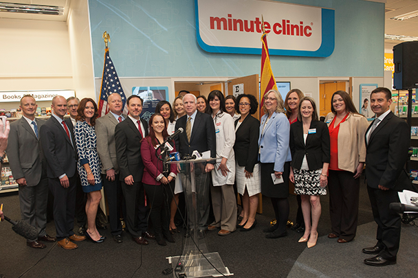 Partnership announcement at a MinuteClinic in the Phoenix area