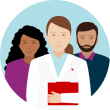 Icon depicting a pharmacist holding red folder, standing in front of a man and a woman
