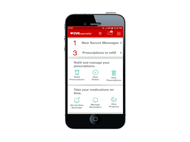 A screenshot from the new CVS Specialty mobile app.