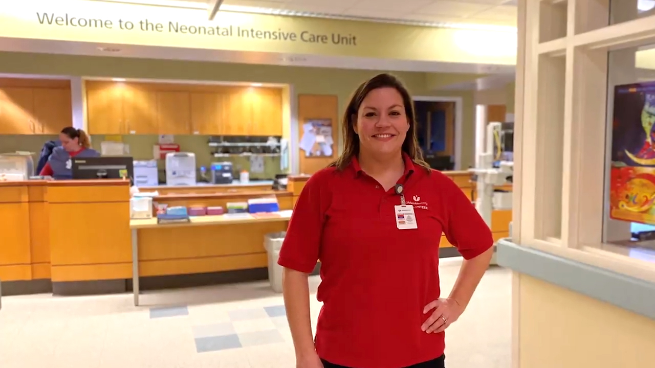A photo of Erin Wright in the Neonatal Intensive Care Unit at UMass Memorial Health Care.