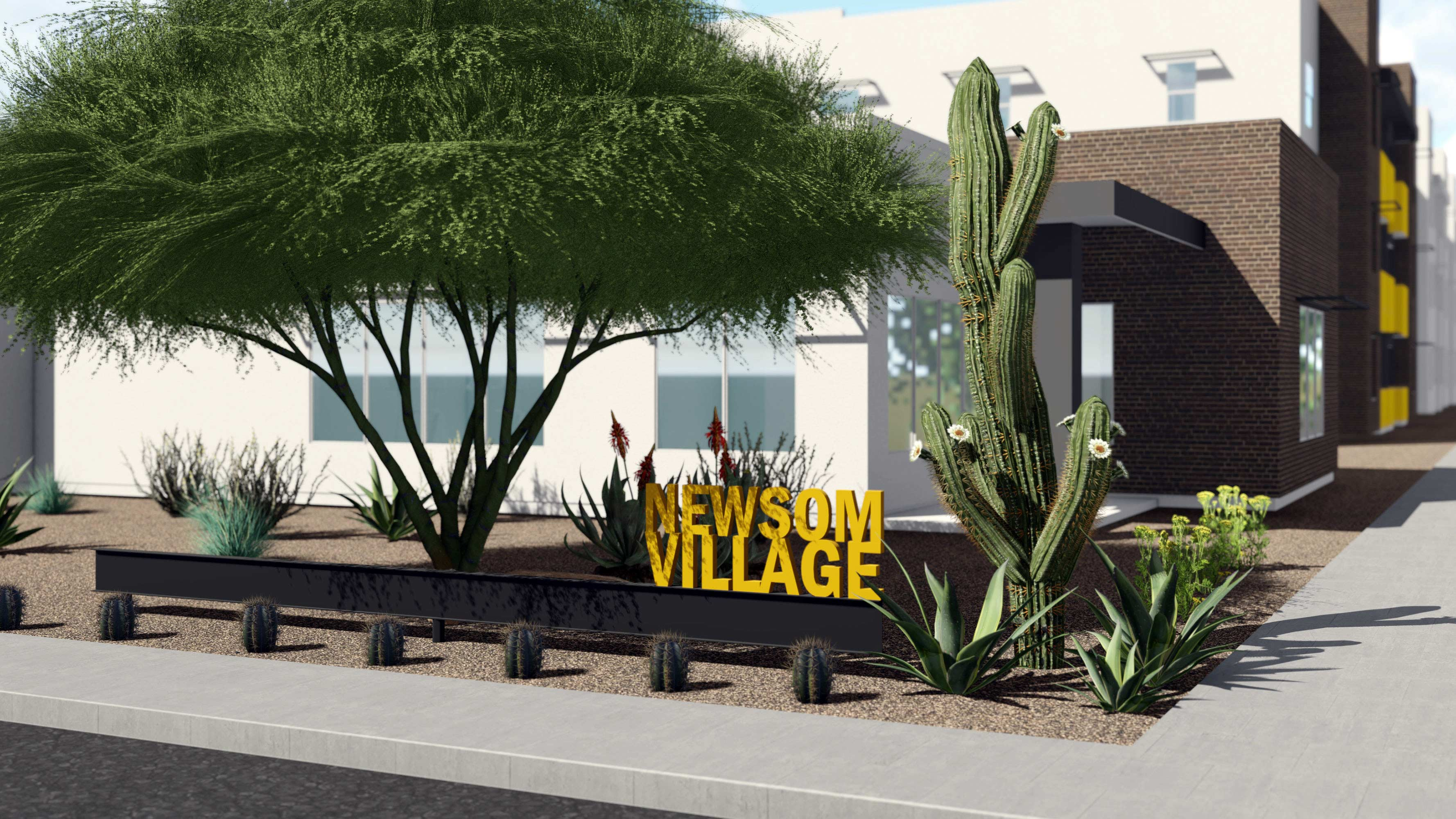 A digital rendering of Newsom Village