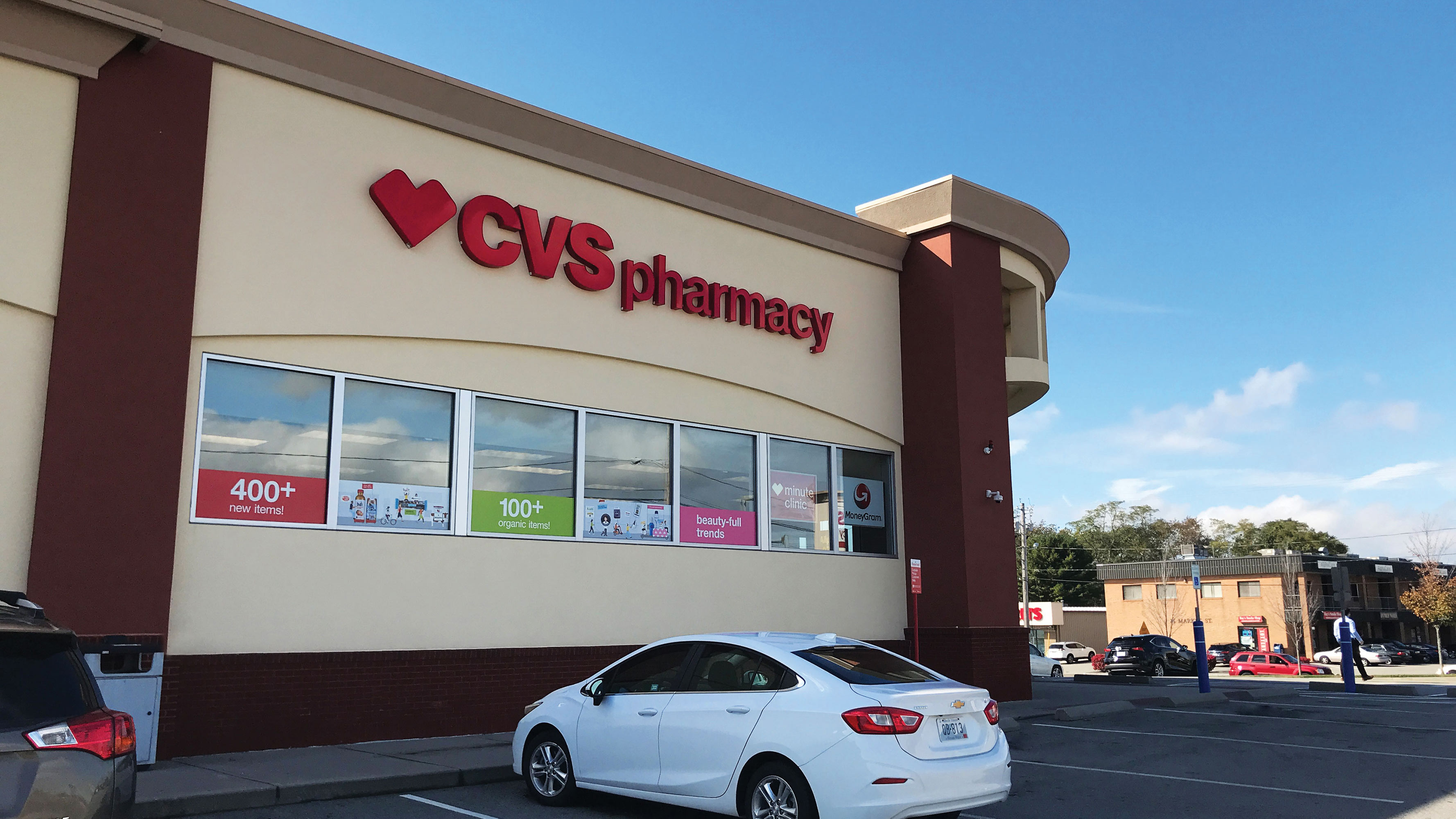 The exterior of the CVS Pharmacy location in Swansea, Massachusetts.