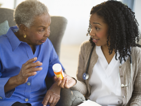 Nurse explaining medications to patient.