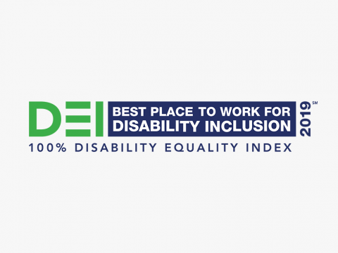 2019 DEI 'Best Place to Work for Disability Inclusion' logo.