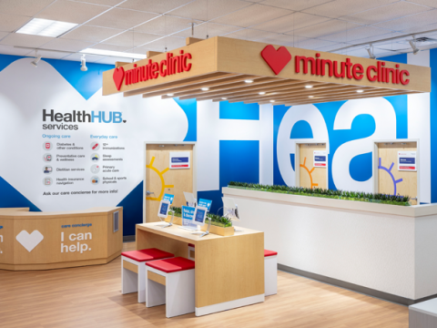 Interior of a HealthHub inside a CVS Pharmacy