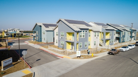 An aerial photo of the Sequoia Commons housing development neighborhood.