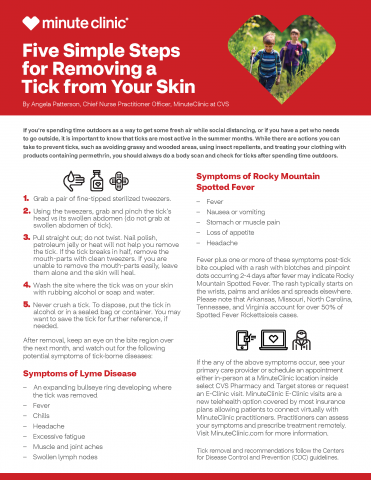 "PDF preview image of ""Five simple steps for removing a tick from your skin"""