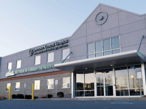 An exterior shot of the Greater Lawrence Family Health Center